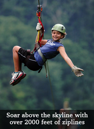 Soar above the skyline with over 2000 feet of ziplines.
